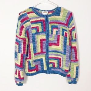 Vintage Talbots Geometric Zip Up Cardigan Sweater